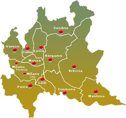 Lombardia Cartina Province.Mappa Dei Cpl